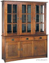 furniture oak nobility mission 3 bay hutch with glass doors china cabinet kitchen antique