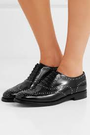 church s womens burwood met studded glossed leather brogues