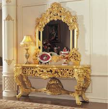europa italian furniture luxurious. luxury wholesale classic furniture gold leaf gilding console table and mirror europa italian luxurious