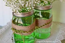Glass Jar Table Decorations Easy Spring Centerpiece with green Ball Jars 78