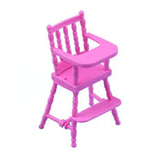 Children Pink Nursery Baby High Chair For Doll\u0027S House Girls Doll Furniture Accessories Toy Dolls With Accessory
