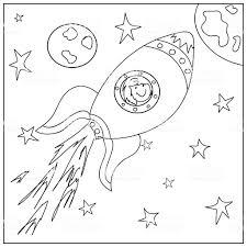 Astronave Pagina Da Colorare Per Bambini Immagini Vettoriali Stock