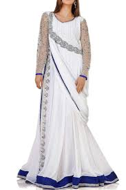 Elegance Designer Wear Elegance White Blue Embroidered Designer Islamic Dress