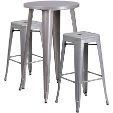 24 round silver metal indoor outdoor bar table set with 2 square seat
