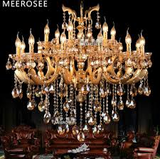 gold 18 arms large crystal chandelier lamp crystal re suspension light fixture for foyer hotel md3106 d950mm h850mm
