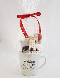 How about this godiva travel mug gift set? Waking Up To You Is Magic Coffee Chocolate Gift Set