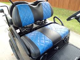 golf cart seat upholstery black with blue diamond pattern carbon fiber inserts
