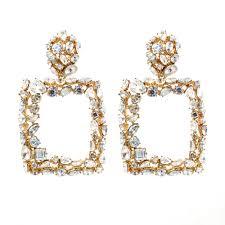 Zara Golden Raised Design Earrings Details About Gold Raised Rhinestones Zara Rectangle Drop Earrings Studs Bloggers 4 Colors Uk