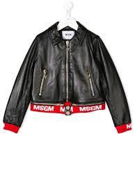 msgm kids msgm kids logo trim biker jacket black goxip