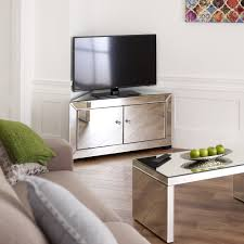 Mirrored Tv Cabinet Living Room Furniture Venetian Mirrored Corner Tv Cabinet To Fit Tvs Up To 44