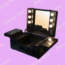 professional fashion aluminum makeup case with lights mirror trolley stand aluminum cosmetic