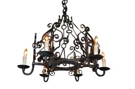 french 19th century six light iron chandelier with matching chain