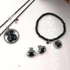 details about teddy bear necklace bracelet earrings jewelry set black onyx pendant