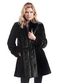 black sheared beaver tuxedo faux fur coat 1