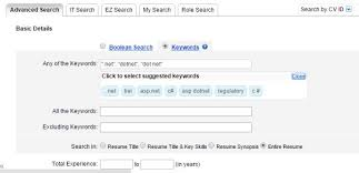 Search fields used by recruiters for skill based search