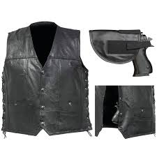 biker vest concealed carry lace up buffalo leather motorcycle ccw w holster 2xl com