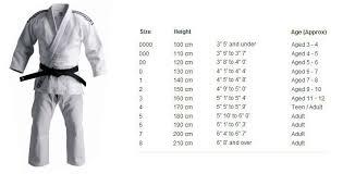 Judo Suit Size Chart Size Chart