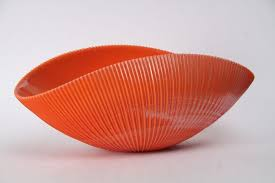 Orange Decorative Bowl Curving Murano Glass Decorative Bowl in Orange 1