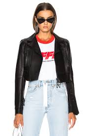 image 1 of off white woman cropped biker jacket in black white