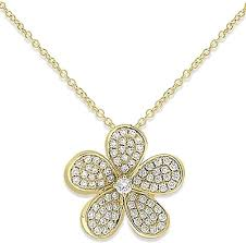 Diamond Designs Kc Designs 14k Yellow Gold Diamond Flower Pendant