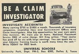old ads are funny 1961 ad be a claim investigator insurance agent