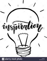 Light Bulb Word Art Vector Isolated Lightbulb And Inspiration Handwritten Word