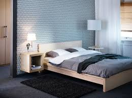 ikea malm bed frame for contemporary bedroom style wall paper with wall mounted wood shelves