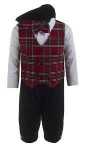 Boys Black Velvet Knickers With Plaid Holiday Vest And Pageboy Hat