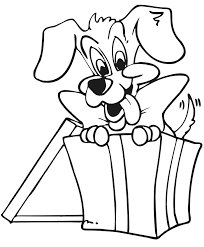 Small Picture Christmas Present Coloring Page Puppy In Gift Box