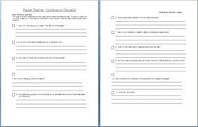 Parent Teacher Conference Agenda Template Concern Checklist Sample ...