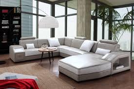 divani casa charlie modern light grey white leather sectional sofa ottoman