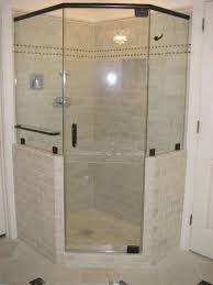 terrific frameless glass corner shower room ideas with half ceramic wall and chrome handle shower door