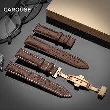 carouse watchband 18mm 19mm 20mm 21mm 22mm 24mm calf leather watch band erfly buckle strap bracelet accessories wristbands band width 14mm band color