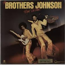 THE BROTHERS JOHNSON RIGHT ON TIME PROMO STICKERED