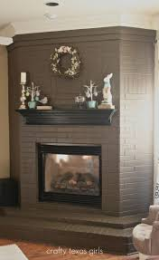 love this color crafty texas girls spring mantle love the chocolate painted brick for updating an old fireplace