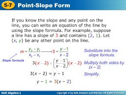 holt algebra 1 5 7 point slope form if you know the slope and