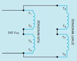 ac single phase motors part 1 20 high voltage connection for a split phase motor two run and two start windings start windings
