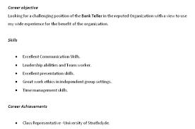 Skills For Bank Teller Resume Resume For Study