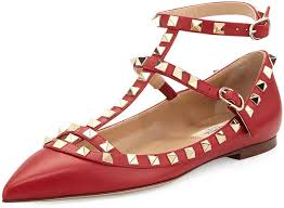 valentino rockstud cage leather ballerina flat red