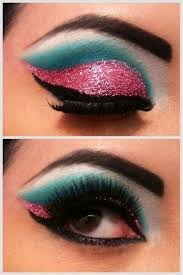 katy perry inspired bright turquoise and pink glitter eye make up i really just want the pink sparkly eyeshadow
