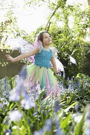 stock photo young girl 5 6 in flower garden wearing fairy costume