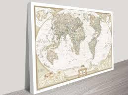 world map canvas wall art framed maps sydney intended for world map wall art canvas