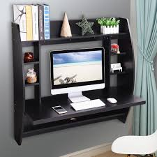 computer furniture home. Wall Mounted Floating Computer Desk With Storage Shelves Laptop Home Office Furniture Work Black 0
