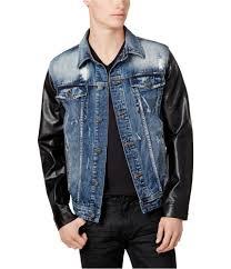 i n c mens faux leather denim jean jacket