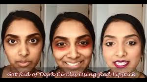 the before after of ering my under eye circles with red lipstick will amaze you
