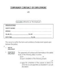 Temporary Employment Contract Template Temporary Contract Template