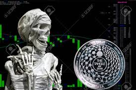 The Coin Cryptocurrency Iota And Skeletonon A Background Chart