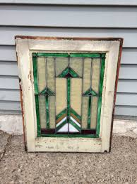 antique chicago prairie style leaded stained glass window 21
