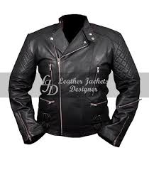 chris brown mens aviator biker er style quilted sleeves with zipper pockets leather jacket front