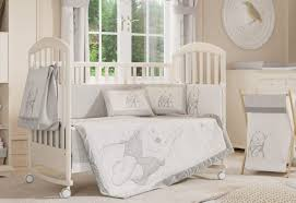 gray winnie the pooh baby bedding set